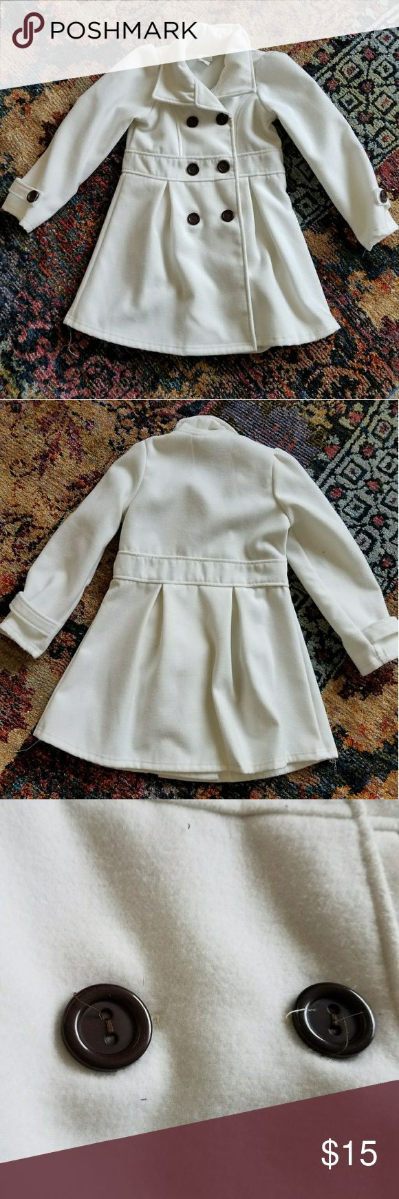 Girl's petticoat Adorable girls peacoat. Size 8, white with brown buttons. Only worn and washed once. Jackets & Coats Pea Coats