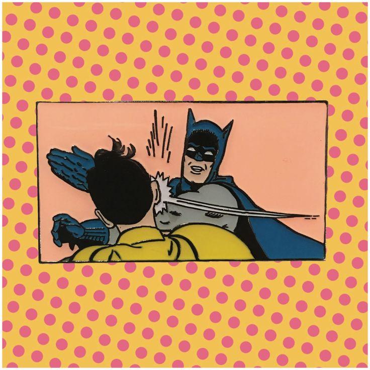 BATMAN SLAP: Reto Batman Slapping Robin Meme Enamel Pin / Get A Life Designs