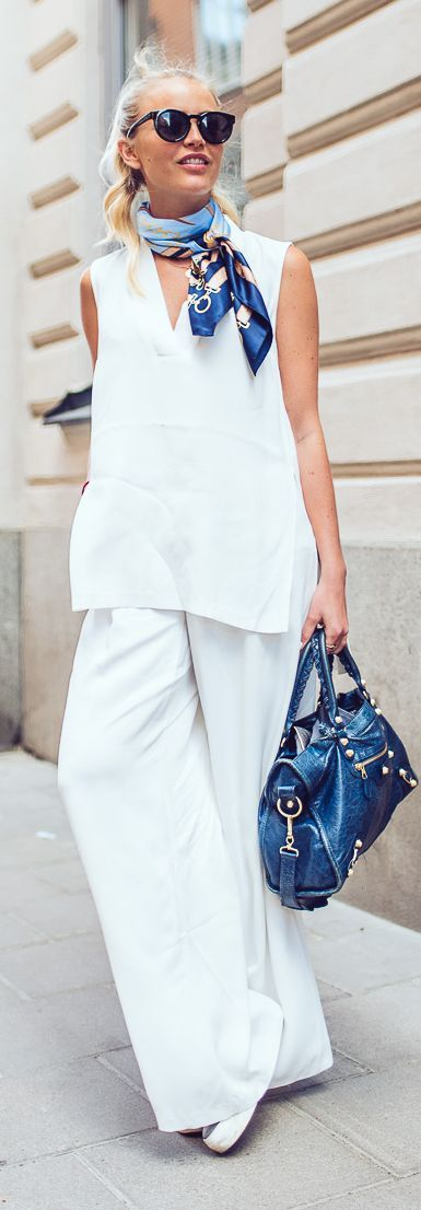 Add a pop of colored scarf to a white summer outfit