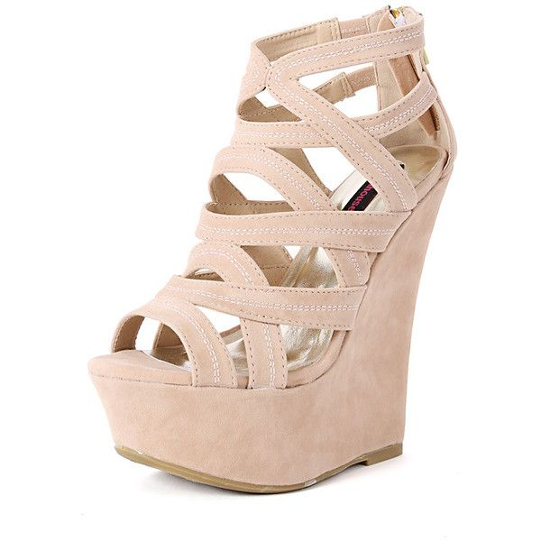 Dollhouse Conquest Caged Gladiator Wedges ($38) ❤ liked on Polyvore featuring shoes, sandals, heels, strappy wedge sandals, strap sandals, wedge heel sandals, wedge sandals and caged heel sandals