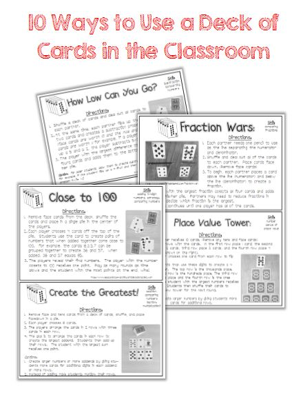 Classroom Freebies: 10 Ways to Use a Deck of Cards