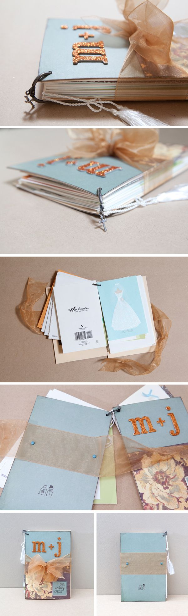 A book with all of the wedding cards.
