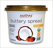 Organic Vegan Buttery Spread It is made from a blend of red palm oil and virgin coconut oil. It's the perfect 1:1 butter replacement for baking or cooking. antioxidant vitamins A & E naturally found in red palm oil. Coconut oil provides the added health benefits of lauric acid. •Organic •Non-GMO •Virgin coconut oil •Sustainably-sourced red palm oil •Fair trade certified red palm oil •No hexane, dairy, soy or canola •Non-hydrogenated (Zero Trans fats!) •No cholesterol •Vegan