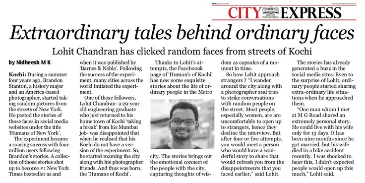 The New Indian Express Features 'Humans Of Kochi'