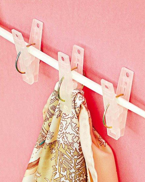 Unexpectedly Useful Tension Rod Hacks For Your Small Space -Hang scarves in the dead space of your closet.