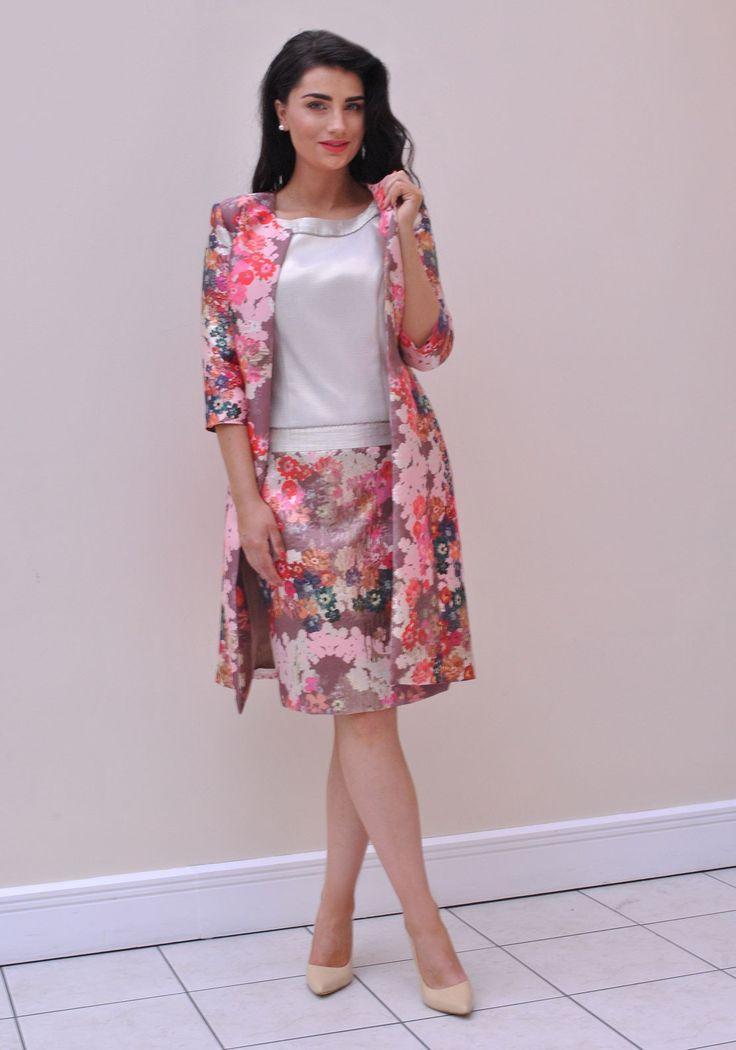 Linea Raffaelli Metallic Sheen Floral Print Dress & Coat, Multi-Coloured
