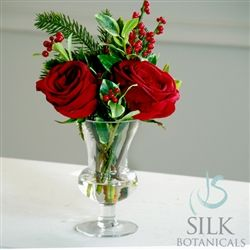 """Holiday rose and ilex glass vase arrangement 15"""" tall red $120"""