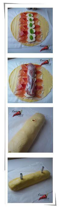 filet mignon en croûte à l'italienne Ingrédients pour 6 personnes: 1 beau filet mignon 1 pâte feuilletée toute prête ou maison 6 tranches de jambon sec italien 1 boule de mozzarella (la vraie de bufflonne, ce n'en sera que meilleur!) 2 brins de basilic 1 jaune d'oeuf délayé dans un peu de lait pour la dorure Huile d'olive parfumée, Sel, Poivre- La touche d'Agathe - Plats et gratins - recette, recipe, kitchen,