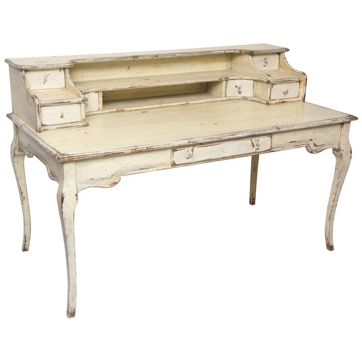 Large Painted Country French Desk | From a unique collection of antique and modern desks at https://www.1stdibs.com/furniture/storage-case-pieces/desks/