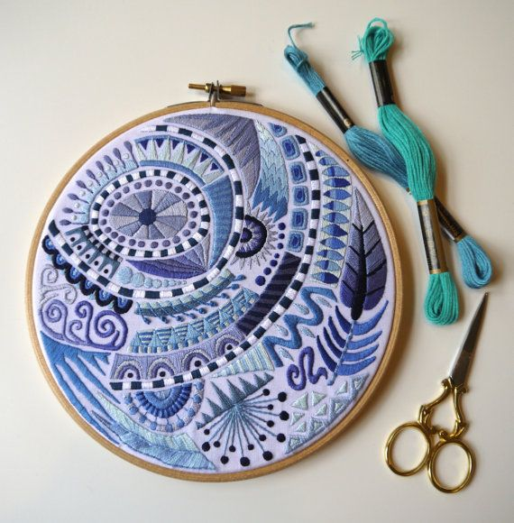 7 Hand Stitched 'Doodle' Embroidery Hoop in by TheGrumpyCrafter
