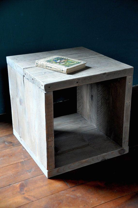 Reclaimed wood Bedside Side Table Industrial Rustic Modern Furniture Scaffold boards Pallet Wood Upcycled Furniture End Table  industrial design using