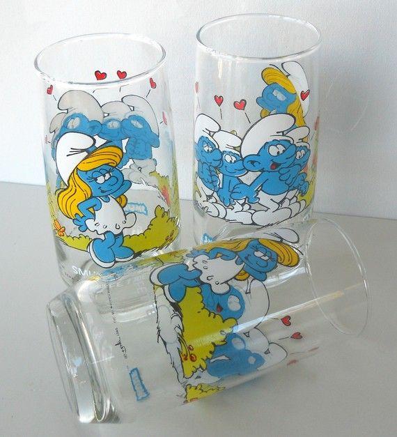 Vintage Set of Three 1982 Smurfette Glasses by BlueHouseVintage