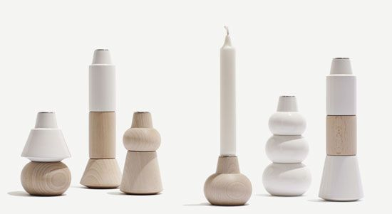 Different parts can be stacked to create different shapes of candle holder.