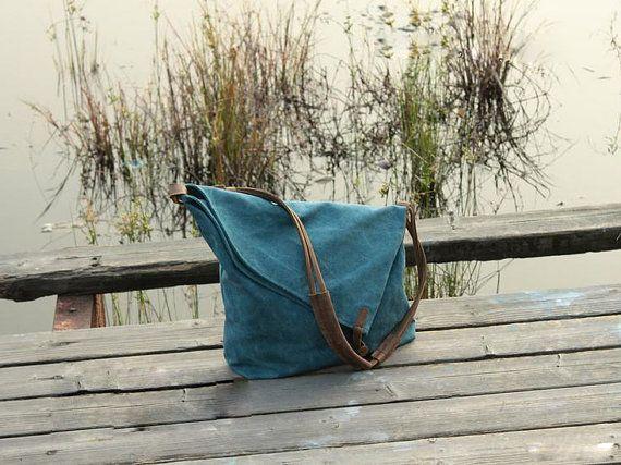 Halloween gifts - Blue Canvas Messenger Bag / Canvas Shoulder Bag / Messenger Bag /Canvas Student Bags /Canvas School Bag