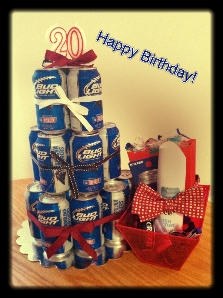 College birthday boy gifts: beer, dip, Bow tie, etc.