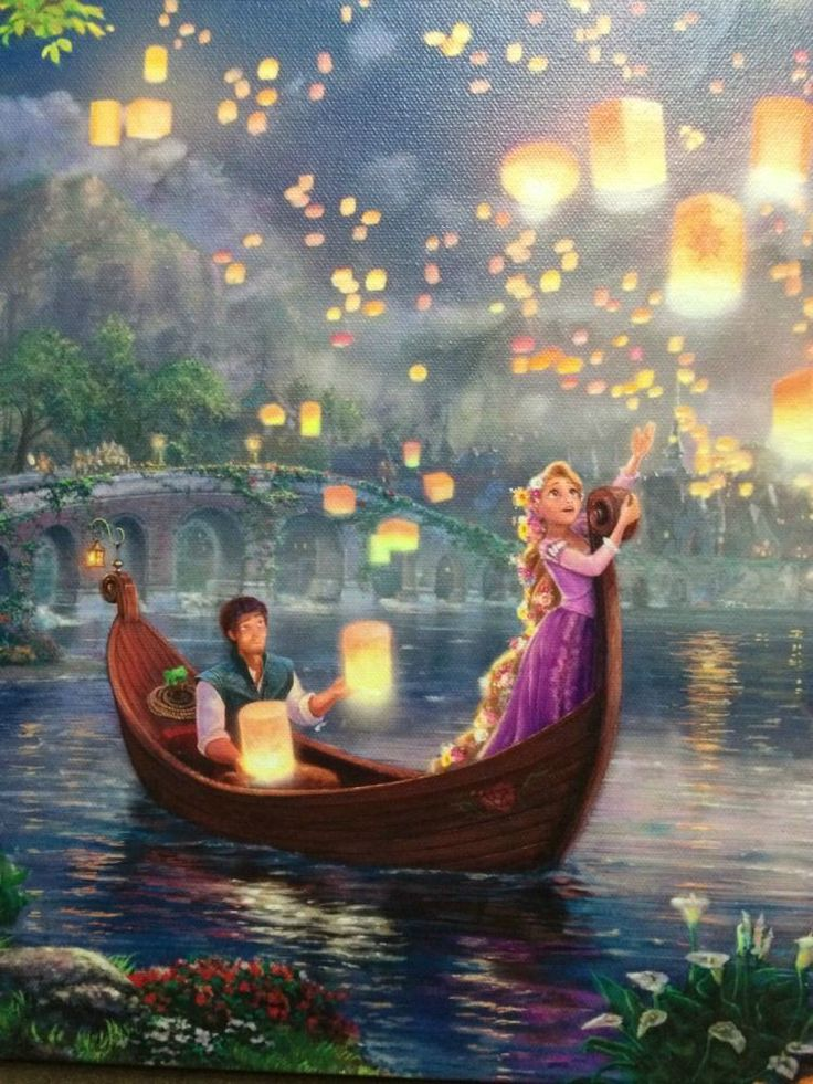 thomas kinkade disney Deams Collection Tangled canvas in Art | eBay