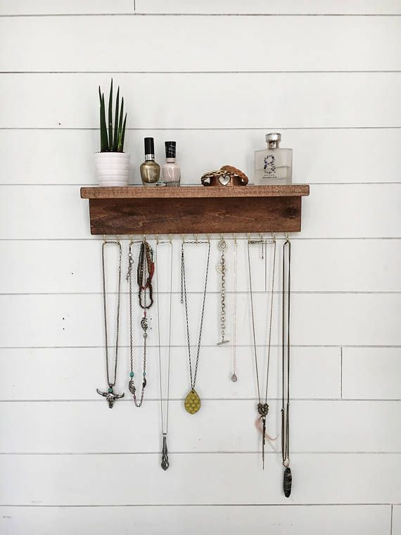 Wall mount jewelry organizer necklace holder with shelf for Mountain shelf diy