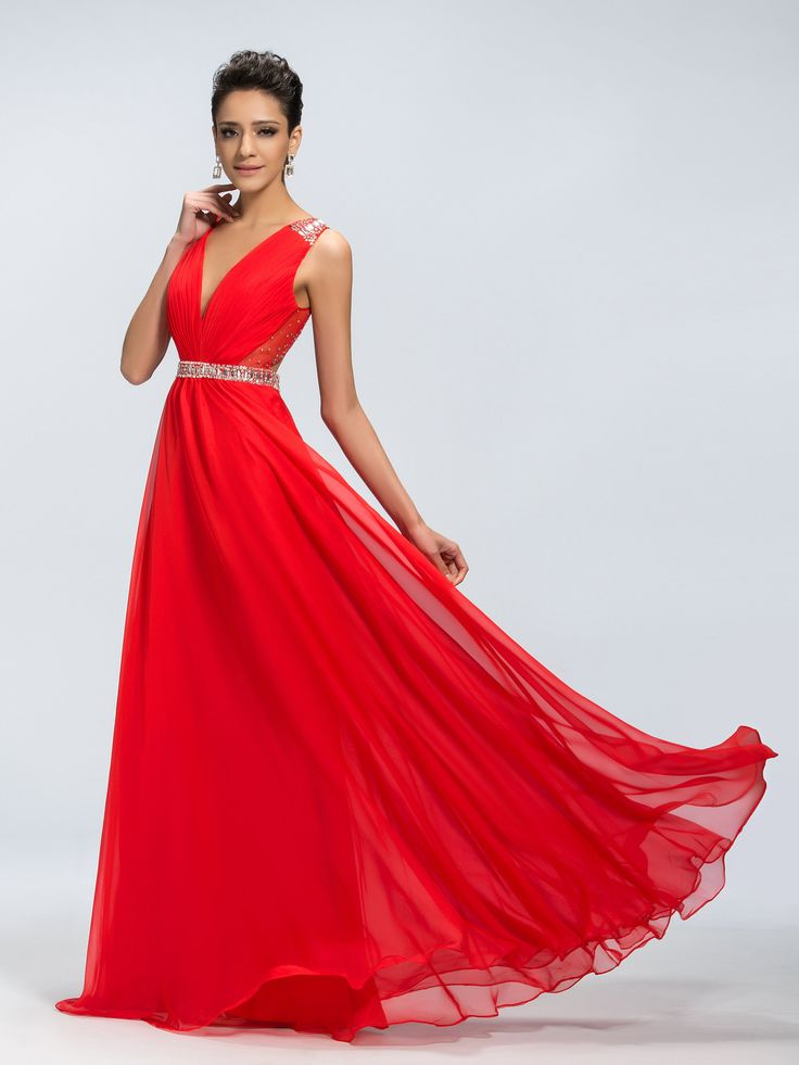 Charming V-Neck Open Back  A-Line Deep   Sequins Long Prom Dress