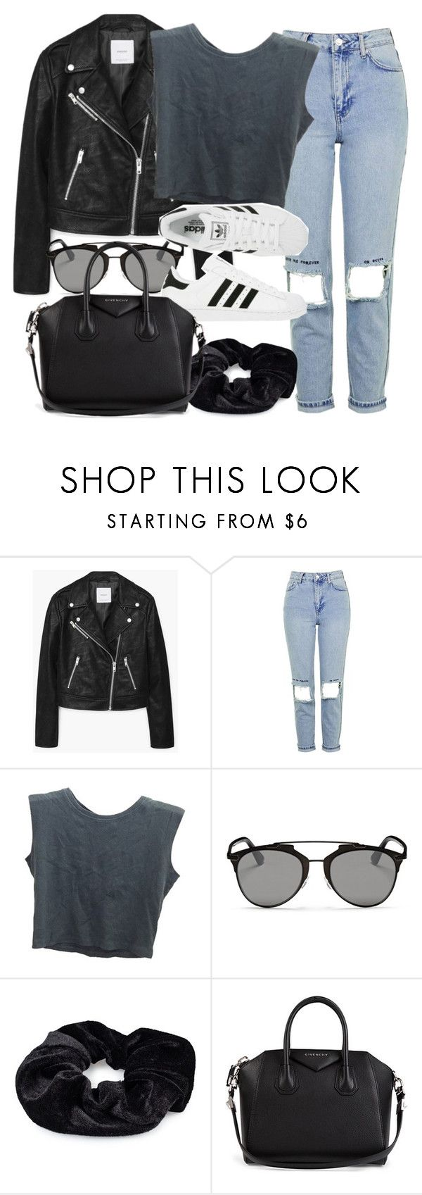 """""""Style #11444"""" by vany-alvarado ❤ liked on Polyvore featuring MANGO, Topshop, Brandy Melville, Christian Dior, Pieces, adidas and Givenchy"""