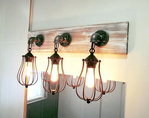 Bathroom Light Fixture Whitewash Hanging Cage Light Industrial | For ...
