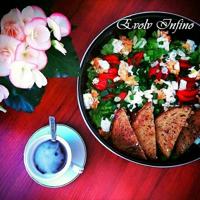 Meal Idea - Salad & Multi Cereal Toasted Garlic Bread with Olive Oil.