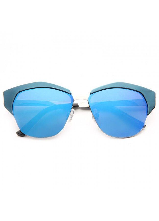 Mirrors Designer Inspired Metal Cat Eye Sunglasses