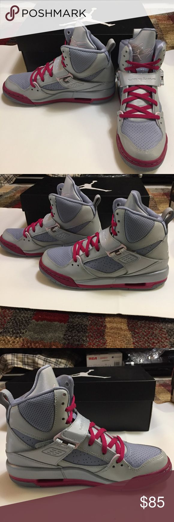 Jordan Flight 45 High GS- Girls Girls Jordan Flight 45 High GS which have only been worn once. Model: 524864-009. On the right pair, there are 2 thin black marks. Size UK 5, US 5.5 y. My size is a 6 and they fit me. Air Jordan Shoes