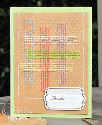 Stitched card created for Scrapbook Supplies Online's March challenge.