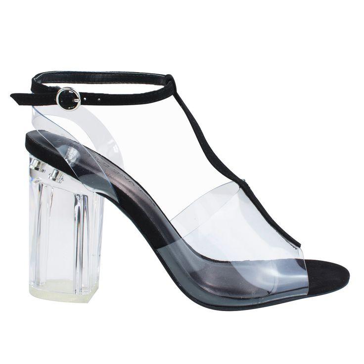 Natalie01 Black clear perspex block heel w t strap lucite transparent straps