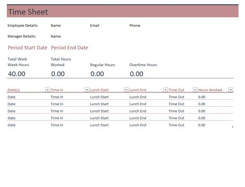 Keep track of hours worked, as well as regular and overtime hours for yourself or your employees, with this accessible time sheet template.