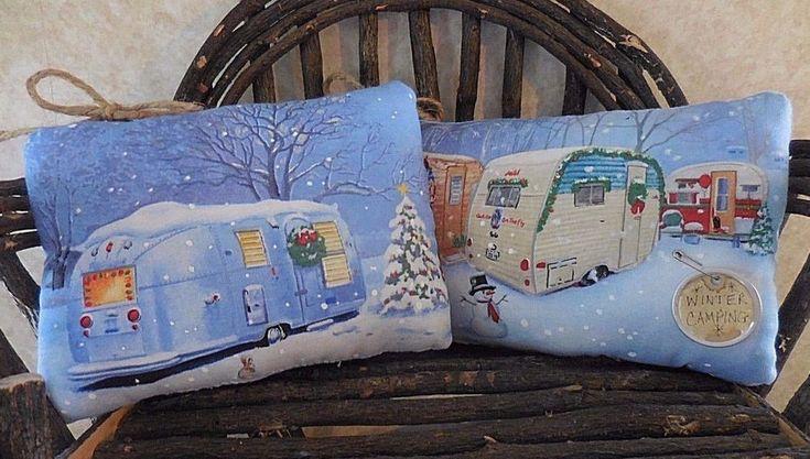 Primitive LET'S GO CAMPING Winter Campers Decor Retro Trailer Pillow Tucks Gift #NaivePrimitive #auntiemeowsprims