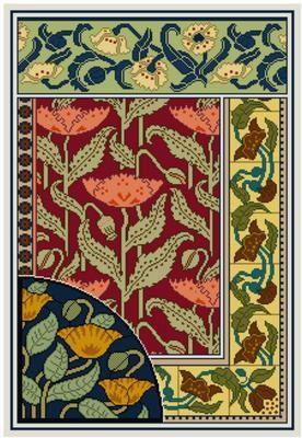Art Nouveau Decorative Panel Cross stitch pattern PDF by Whoopicat, $10.00
