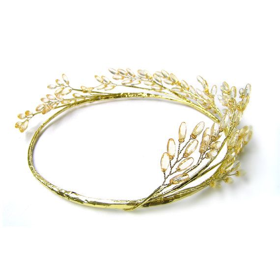 Gold beaded headpiece, Golden Crown, Gold Tiara with Yellow Faceted Beads, Gold Crown Greek Headpiece, Gold Bridal Headband