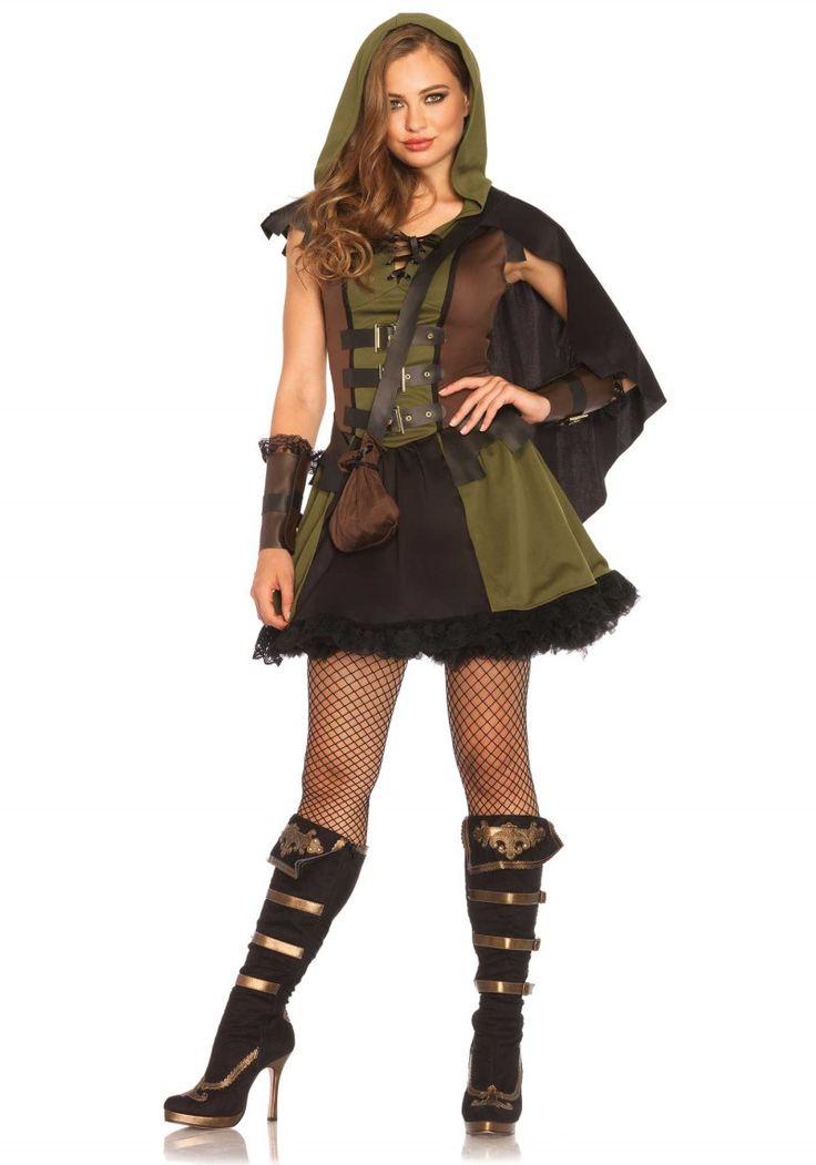 Kedves Robin Hood nő jelmez mely tartalmazza a ruhát, kardíszt és az erszényt is. Ajánljuk olyan jelmezes bulikba, farsangi rendezvényekre is kényelmes viselet.