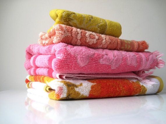 Midcentury Towel Mix Vintage Linens Bath by ShantyIrishVintage