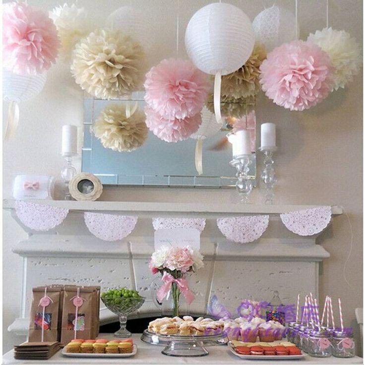 15pcs mixed size (15cm,20cm,25cm) Tissue paper pom poms balls Wedding decoration Festival baby shower party decoration supplier