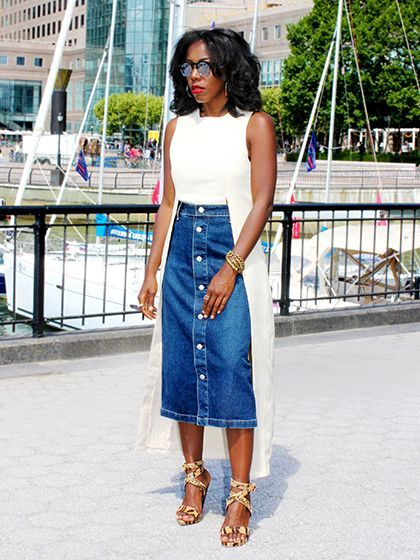 Alexa Chung AG Jeans A-line, button-front midi skirt with a white top and snakeskin heels | allure.com