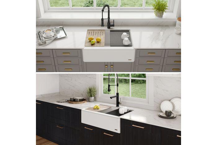 33 Flat Apron Front Granite Quartz Composite Single Bowl Kitchen