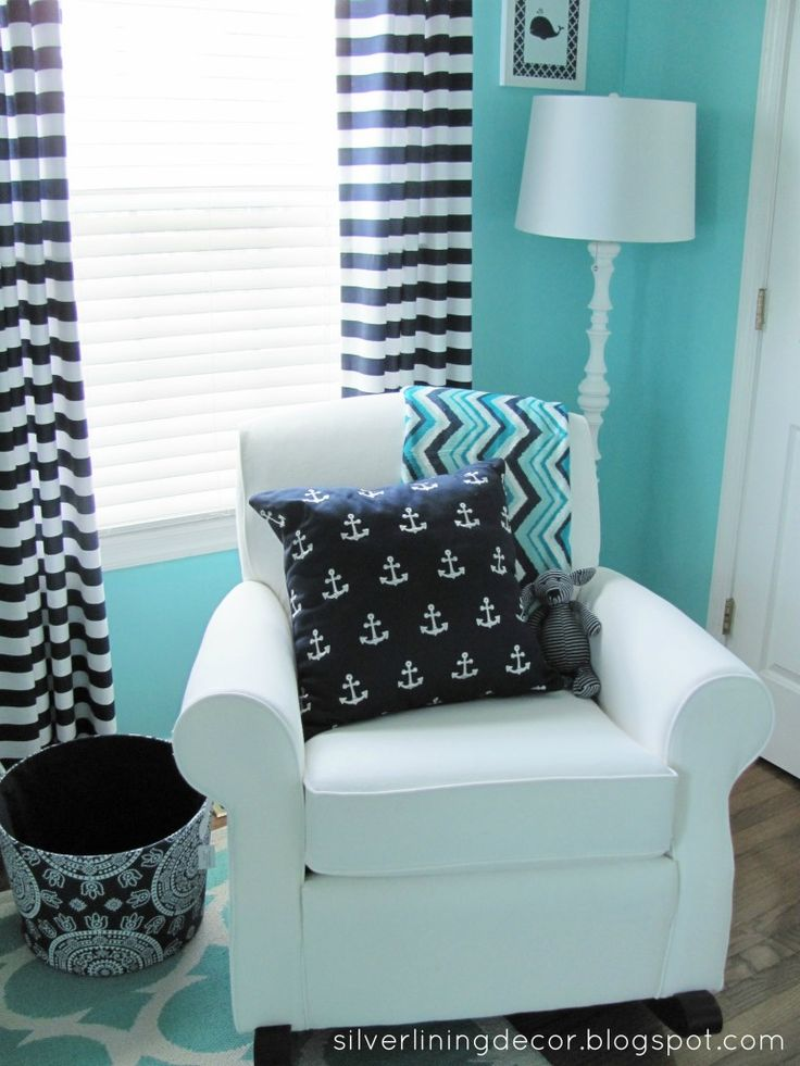 Aqua & Navy Nursery - love the nautical accents! #nursery #babyboy