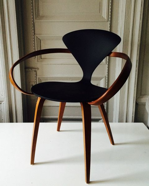 walnut and painted wood cherner armchair