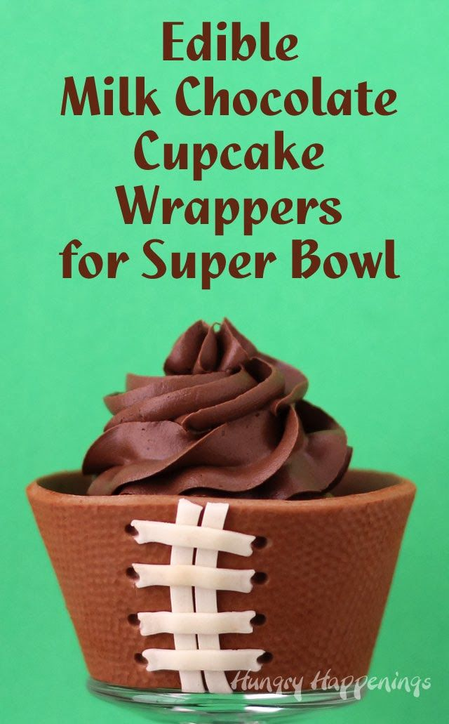 Hungry Happenings: Super Bowl Edible Cupcake Wrappers - Milk Chocolate Football Wrappers