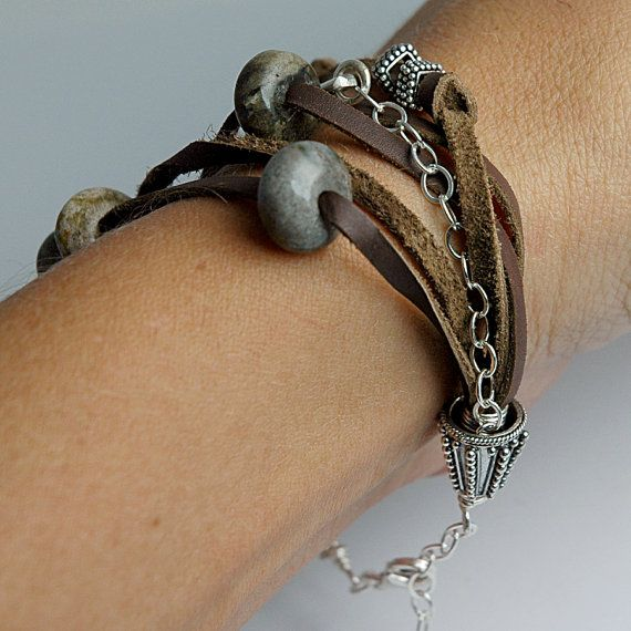Medical Alert Bracelet - Recycled Eco-Friendly Sterling Silver - Brown Leather - Custom  Personalized - Trendy medical alternative