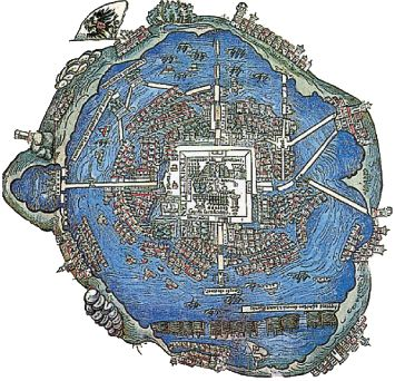 Tenochtitlan map >>> Today the lake is long drained and the Aztec capital has been replaced by the much, much larger Mexican capital. Still, this is a beautiful map, though of a time long gone.