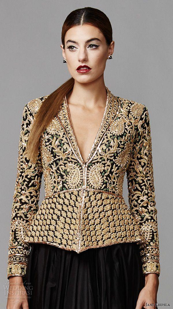 jani khosla 2015 bridal evening dress long sleeves v neck gold embroidery top black skirt a line gown zardozi close up lehenga kameez