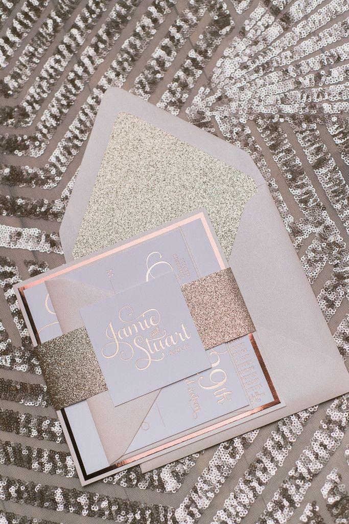 ADELE Suite Fancy Glitter Package, rose gold foil, rose gold glitter, foil stamped wedding invitations, square wedding invitations