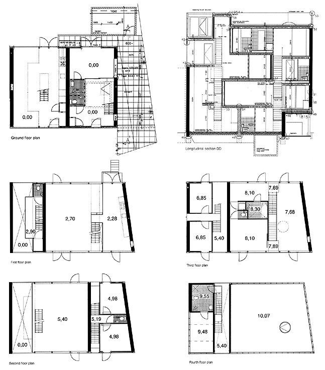 mvrdv - double house, utrecht / plans + section