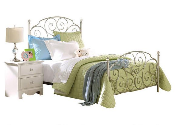 Pretty Please. With its fairy-tale good looks, our Hailey Full bed brings a sense of wonder to your child's bedroom. The head and footboard showcase beautiful metal scrollwork in a silver hue, accented by clear crystal-like finials on the bedposts. This bed is sure to delight from beginning to end!