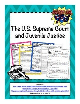 Students use printable information cards with facts about landmark Supreme Court cases that have helped define the juvenile justice system in the United States in order to compare and contrast the adult and juvenile justice systems.  They then act as judge for three juvenile cases where they must use the landmark Supreme Court cases to guide their rulings.
