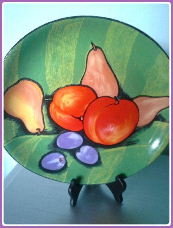 Vintage Plate Sango Tuscany Fruit Kitchen Decor/Vintage Kitchen Decor Green  Orange Purple Fruit Display By Sango Tuscany Style